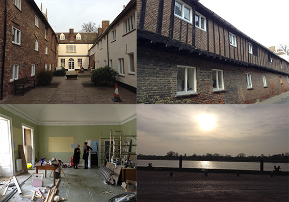 Top Left: Hanse House Courtyard; Top Right: Side View; Bottom Left: The Blue Drawing Room: being refurbished; Bottom Right: South Quay, Sunset