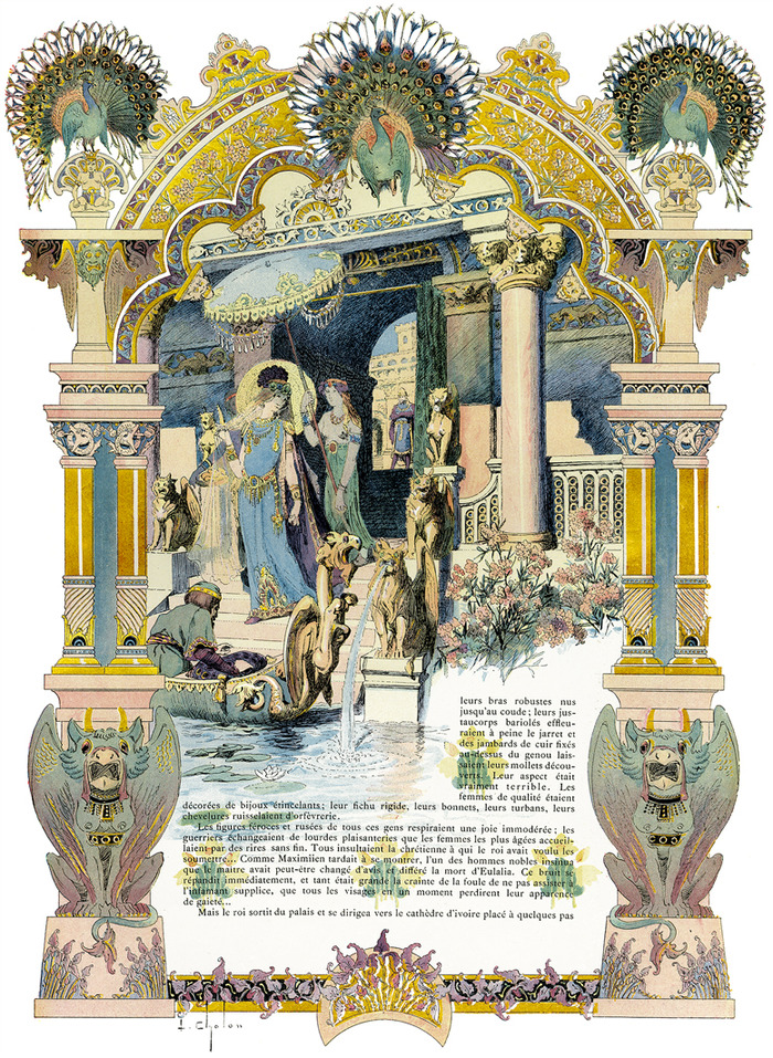 """One of eight magnificent lithographic plates that I want to reproduce, but with its intricate gold component done RIGHT even if I have to completely recreate the layer myself in order to cleanly reproduce it, in ImageS #13. Each is 12""""x18""""."""