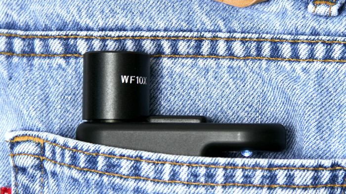 The MicrobeScope fits conveniently in a pocket.