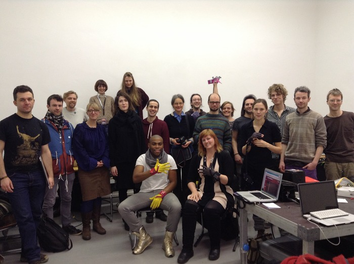 Participants at a recent gloves workshop as part of the Musicmakers Hacklab, CTM/Transmediale, Berlin