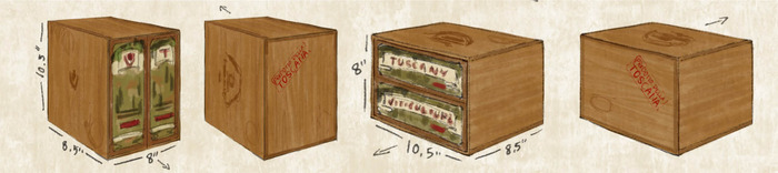 Rough sketch of the collector's edition cardboard box (illustrated to look like wood). It measures approximately 10.5x8.5x8 inches and can sit upright or on its side.