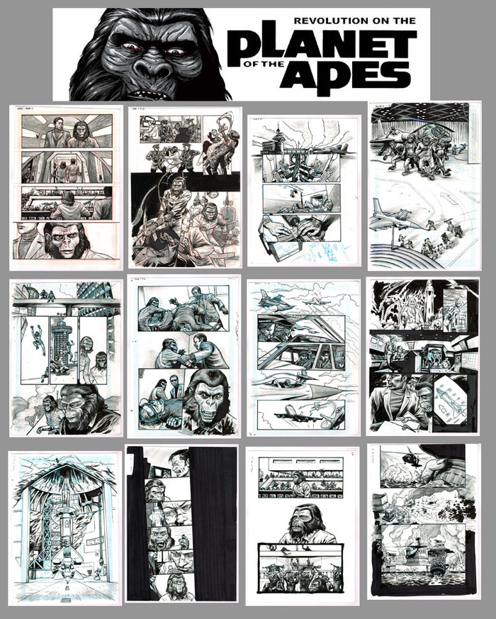 12 pages from Revolution on the Planet of the Apes, published by Mr Comics in 2005