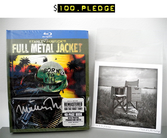 "$100 for the 25th Anniversary Blu-ray ""Book"" Edition of ""Full Metal Jacket"" autographed by Matthew Modine + a signed and numbered limited edition 5 x 5-inch mini print of Kubrick's Director's Chair + your name in the photo booklet + all of the $15 rewards"