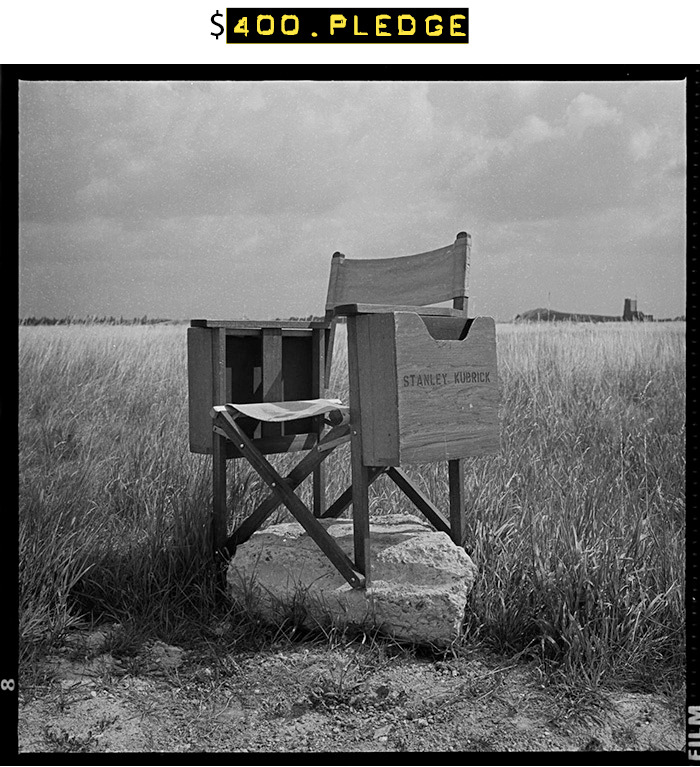 $400 for this limited edition fine art print (9 x 9-inch image on 11 x 14-inch sheet) of Kubrick's Director's Chair signed and numbered by Matthew Modine + your name in the photo booklet + all of the $15 rewards