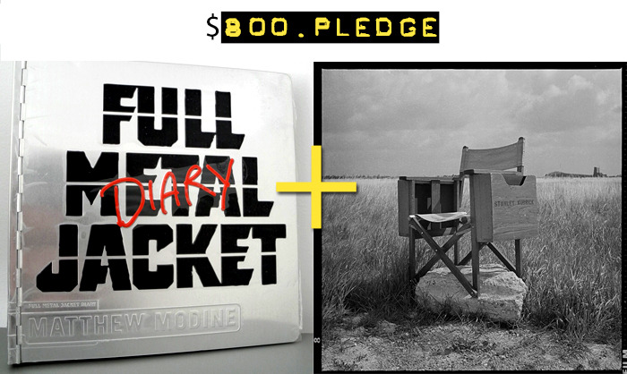 $800 for an original copy of FMJ Diary from 2005 + a fine art print (9 x 9-inch image on 11 x 14-inch sheet) of Kubrick's Director's Chair – both signed by Matthew Modine + your name in the photo booklet + all of the $15 rewards