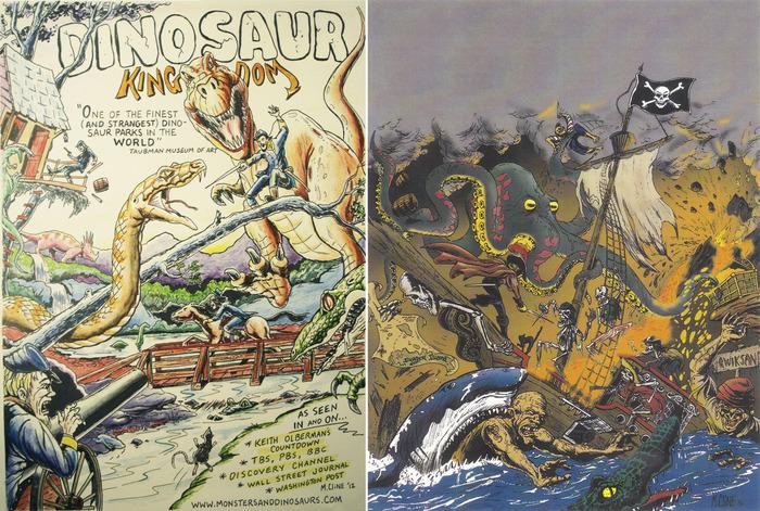 Left: Dinosaur Kingdom print. RIGHT: Pirate Shipwreck print