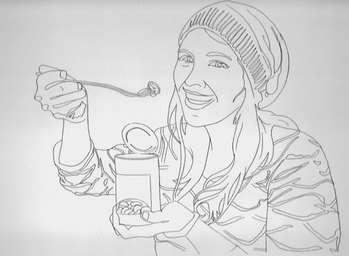 Drawing of Jules Eating Beans: A Still Life for $500 level