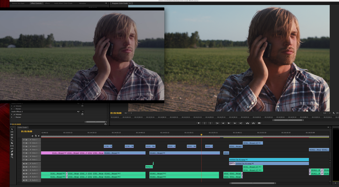 "Color grading progress is underway for ""We Grew Up Here."""