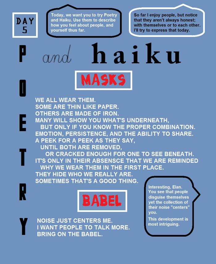 "POETRY & HAIKU - ""Masks"" and ""Babel"""
