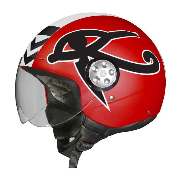 A mockup of a Red Knight pilot's helmet