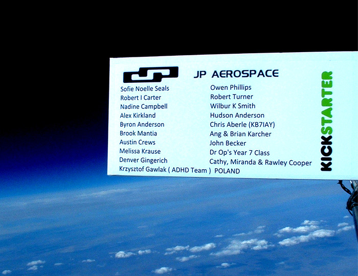 Your name on at high altitude pics for reward (This is a real picture from our last Kickstarter drive).