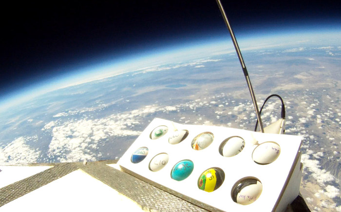 PongSats up top (This is a real picture of PongSats in flight).