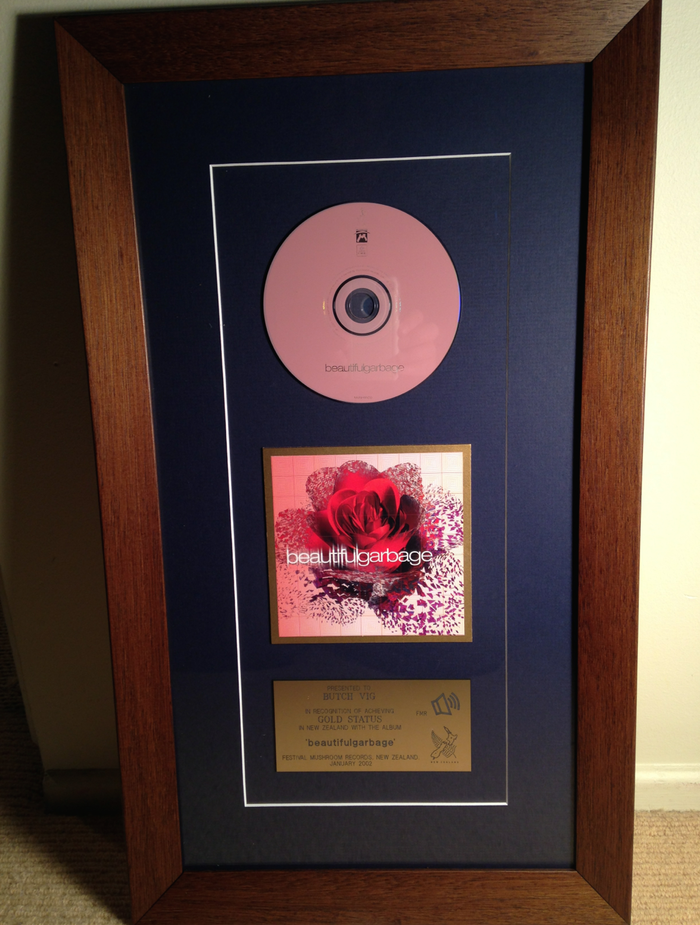 """GARBAGE - """"Beautiful Garbage"""" Gold Record presented to Butch in 2002 - WOOD FRAME"""