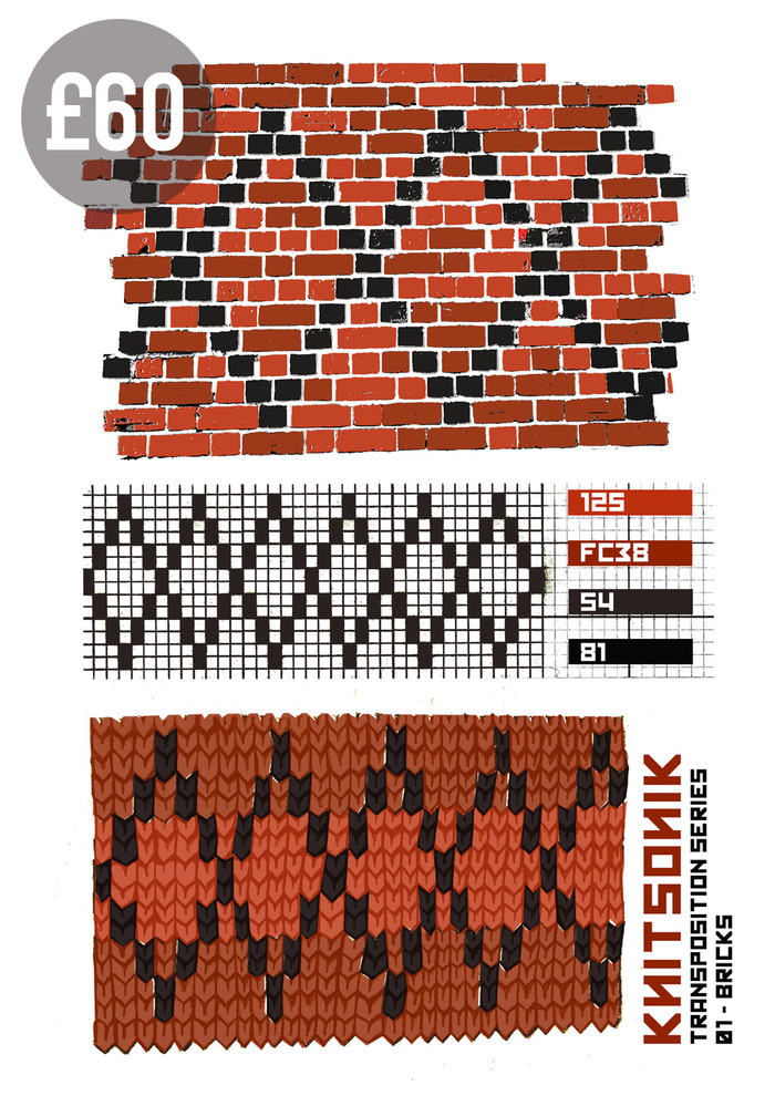 "For £60, pledgers can get a limited edition (30 only) silk screen print, featuring the design ""KNITSONIK Transposition Series 01, Bricks"". A3, 200gsm paper, 4 colour screen print."