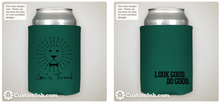 Lion's Thread Magnetic Koozie (final product will have magnetic strip on the back side)