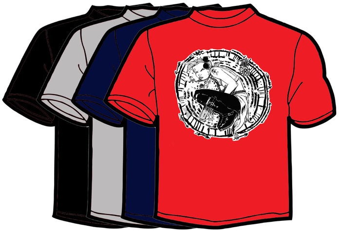 The old-school Jamie Hewlett designed Kickstarter t-shirt