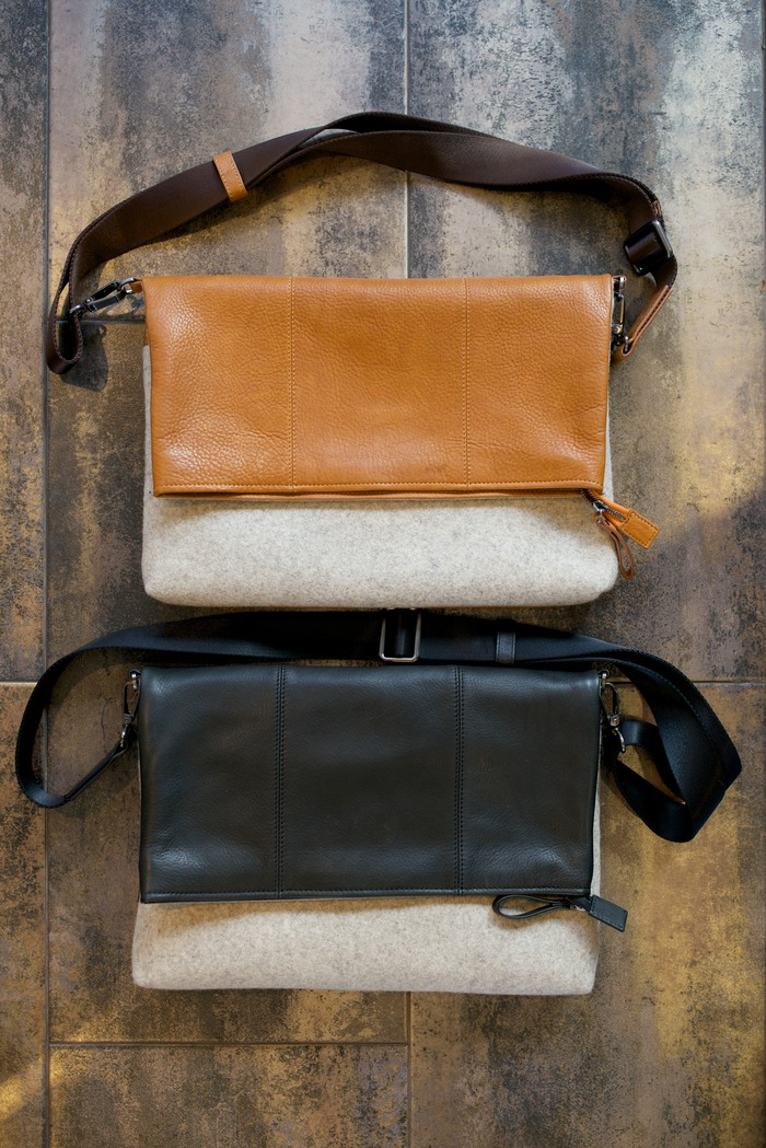 Leather side with flap down