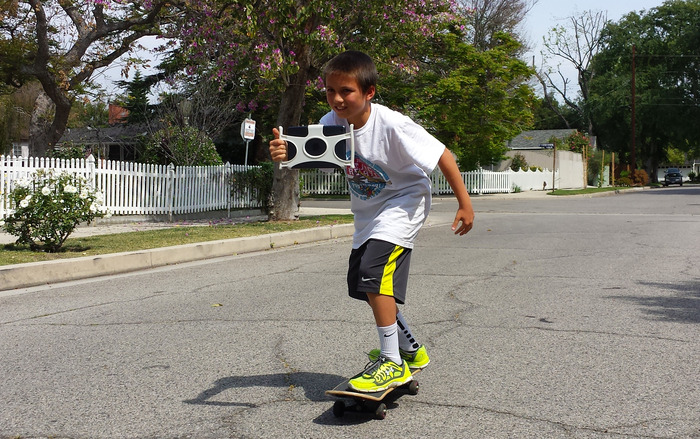 Action footage while riding a skateboard