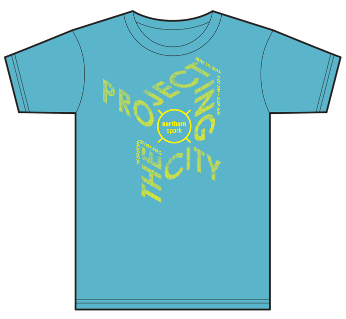 """$25 - GEAR UP / Northern Spark 2014 T-shirt, plus one official """"Sparker"""". Both are original designs by award-winning designer Matthew Rezac. T-shirt color is an approximation."""