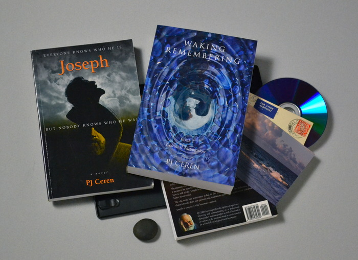 Some of the rewards - the 3 books, the video, the postcard, and the stone from the beach.