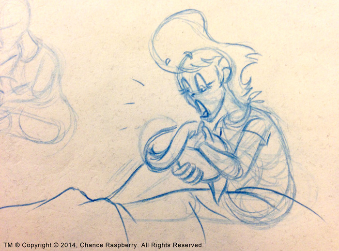 WAIT A MINUTE!!... (Animation Pose): Blue Col-Erase pencil on paper