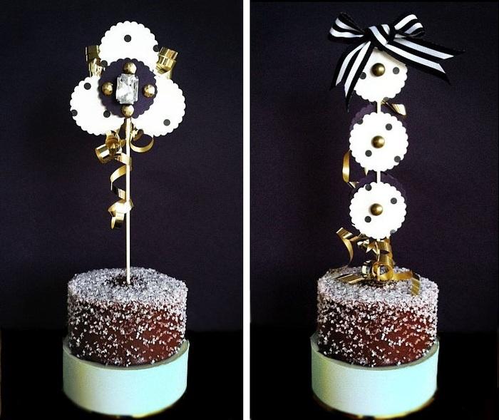 Two examples of handmade pastry toppers. Great for cakes, pies, ice cream sundaes, you name it!