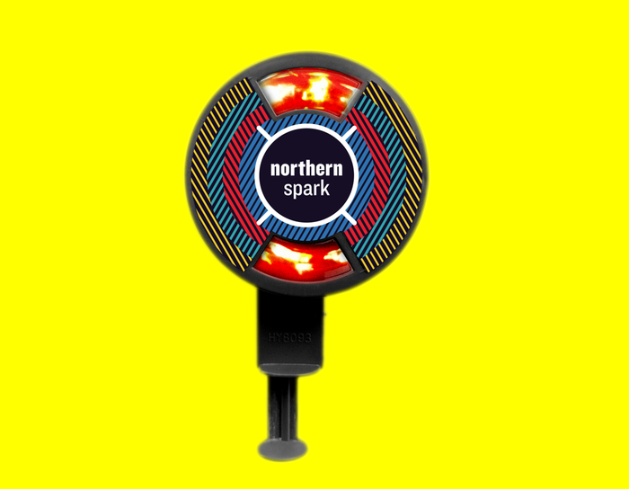 """$10 - SPARK THE NIGHT on June 14 at 9:01pm with this official NS 2014 hand-held """"Sparker."""" Sparking toy disc design by award-winning designer Matthew Rezac."""