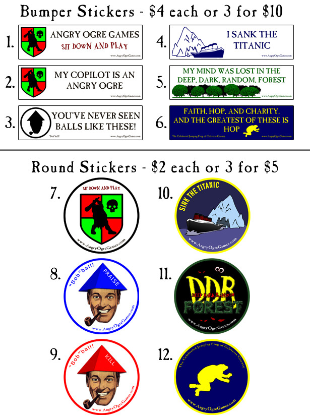 These are all vinyl stickers. 1, 3, 5, 7, 8, and 9 Glow in the Dark for Kickstarter backers only!