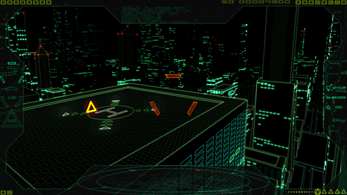 (Procedural infinite city environment sandbox test level, showing landing pad with beam weapon power up)