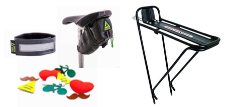 GG Ankle strap, GG Shifter saddle bag, reflective pins, Planet Bike Eco Rack