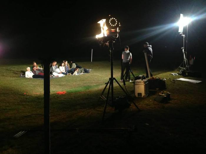 Boston-based band Whispering Ghost's upcoming debut music video being shot at the Randall Drive-In