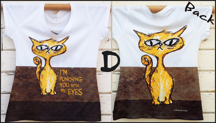 Eye Punch Cat T-Shirt (option D)