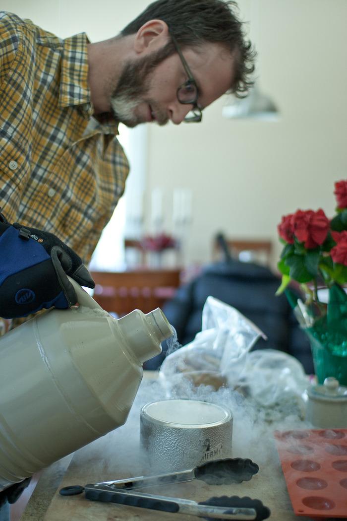 That's me, pouring some liquid nitrogen into a dewar flask. (2011)