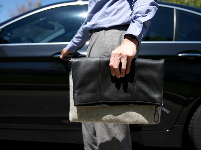 Leather side folded down used as a sleeve-style bag