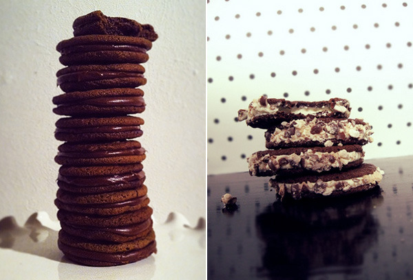 Malt Shop Cookies: chocolate malt wafer cookies with malted fudge filling (left) or malted cream cheese filling and crushed malt balls (right).