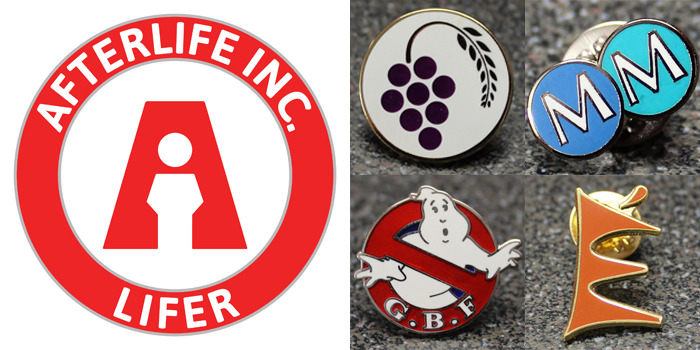 "The Afterlife Inc. ""Lifer"" lapel pin design, with examples of cloisonné badges."