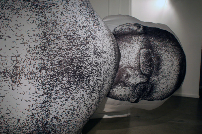 $500 - MIND-BLOWING ART / Caput! (Ben's Head) is a 2-3' tall inflatable sculptural drawing made of Nylon fabric with an original drawing of Ben's head in sharpie marker. Created by NS2014 artist, Benjamin Entner. NOTE: Head only. Chest hair not included.
