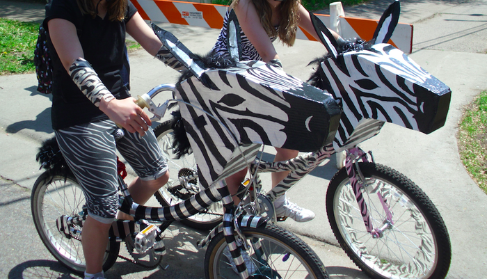 $75 - TRICK OUT YOUR RIDE: Easy-to-Attach Zebra head and tail, lights and fun socks by art bike artist Mina Leierwood. Limit 2.