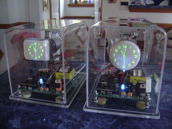 Scope clock built using 6Lo1i or 2AP1 crt, choice with $345 pledge (includes battery backup).