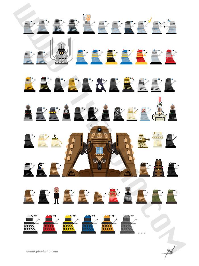 $25 Donation - Dalek Print (12 x 16 inches, 74 characters)