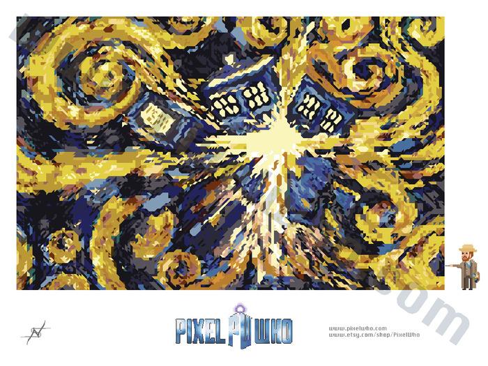 Pixelated Exploding TARDIS (9 x 12 inches)