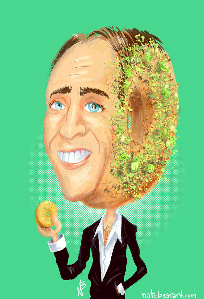 This is an example of one of Nate Bear's donut-head portraits.   This, is Nicholas Cage with one of our toasted pistachio cake donuts as his head.