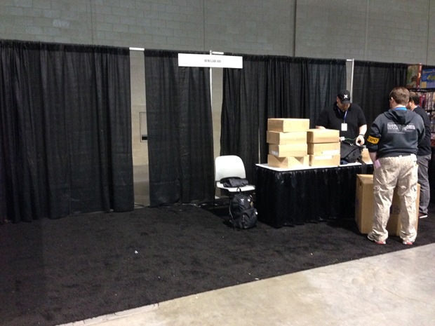 Our empty booth, when we first arrive at the show.