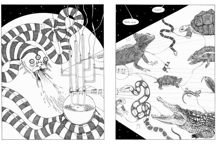 double-page spread: a creature creating reptiles and amphibians.