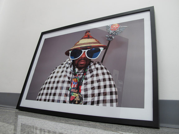"""Framed 16"""" x 20"""" photographic print of Afrika Bambaataa by Joe Conzo we are offering to our backers"""