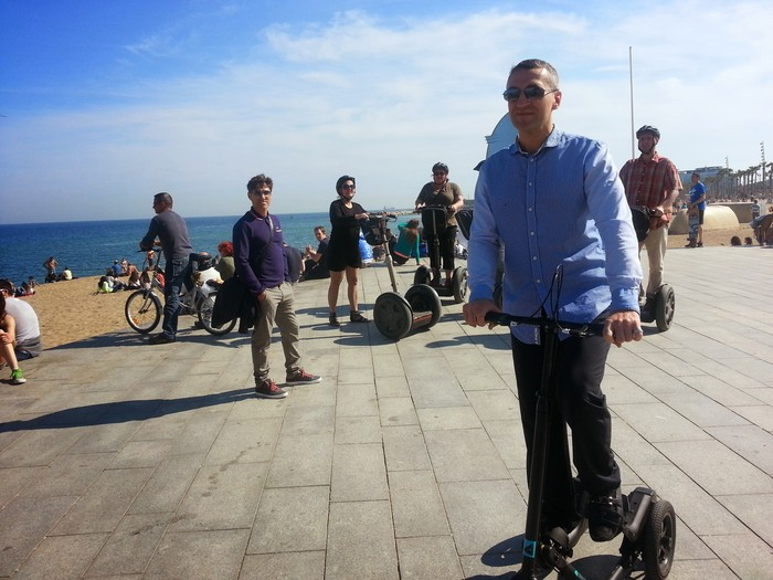 Barcelona, sea and Segways in the background