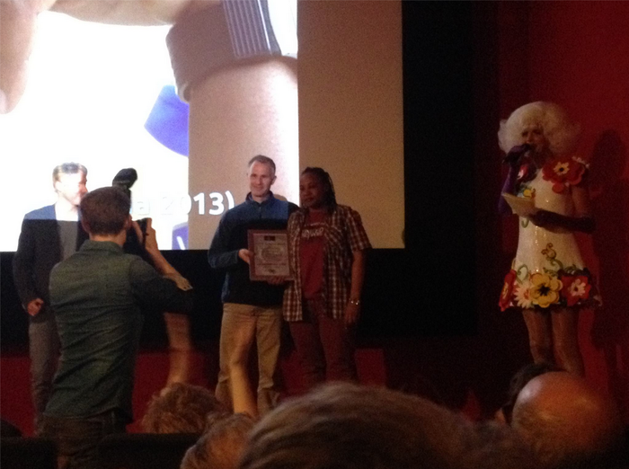Micah and Simone accepting the audience award for Best Documentary at the Roze Filmdagen festival in Amsterdam!