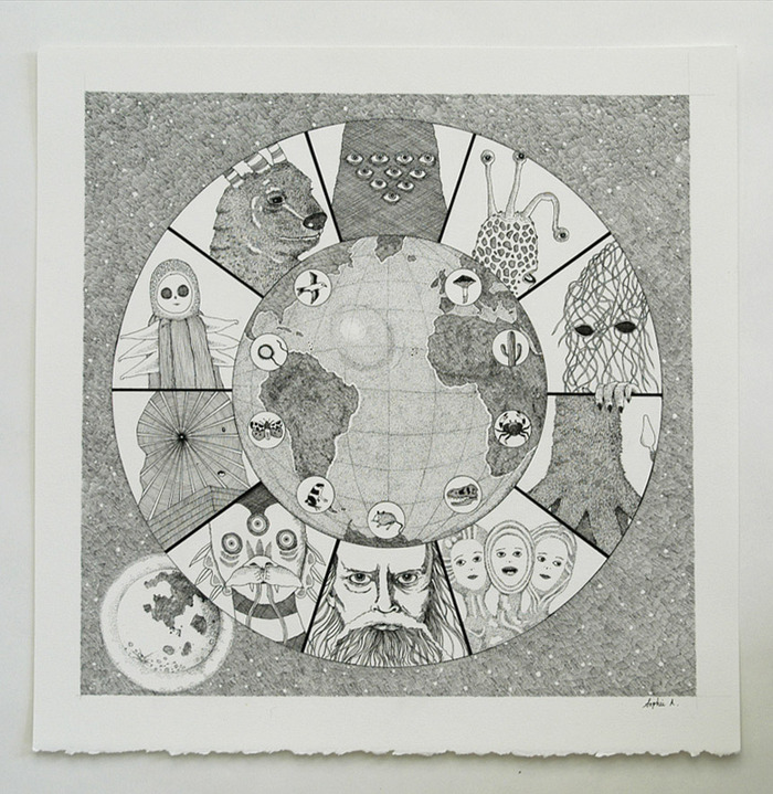 """The $200 reward includes an original drawing featuring portraits of each of the participants in the 1,084th Conference of Creative Beings. Pen & ink, 13 x 13""""."""