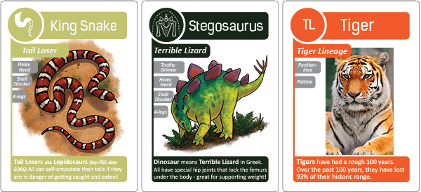 Compare the King Snake and Stegosaurus (from classic Go Extinct!) to Jane's Tiger card!
