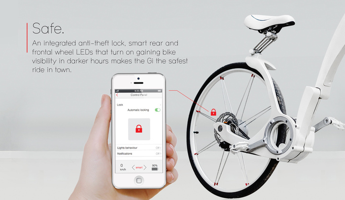 Easy to lock, easy to share. The Gi-Bike's integrated anti-theft lock has a feature that locks automatically once you walk 10 feet away from your bike. You can also add users to your Gi, so it's super-easy to share with friends and family.